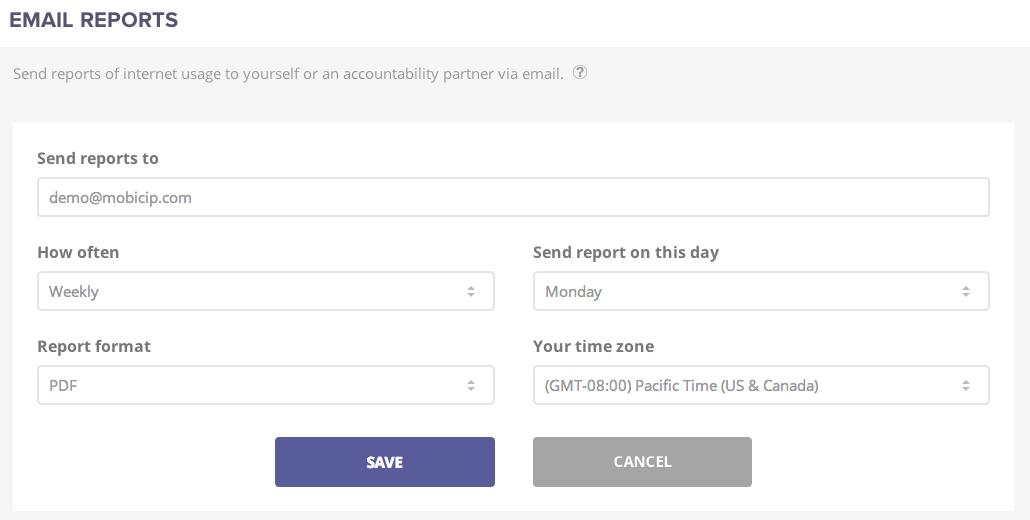 Email Reports screenshot