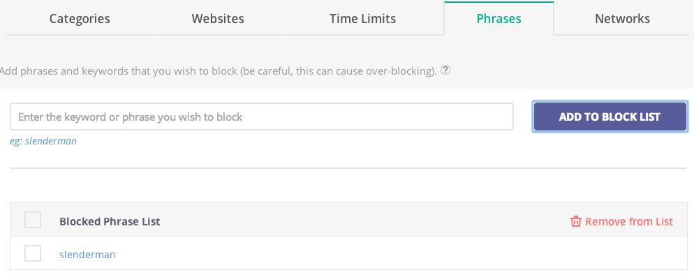 Block phrases or keywords