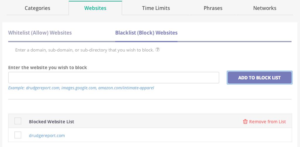 Mobicip Premium - Allow or block wesites