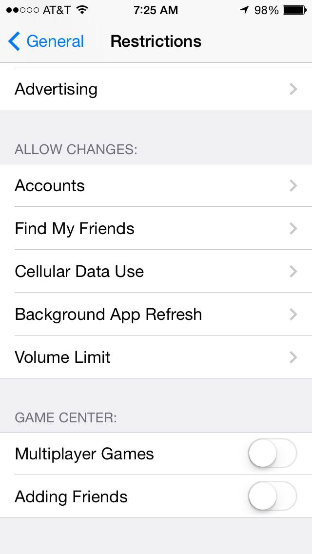 iOS Parental Controls Accounts