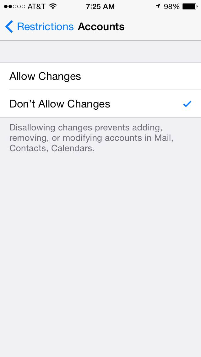 iOS Parental Controls - Accounts Restrictions