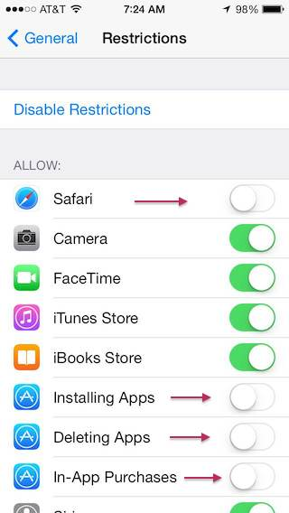iOS Parental Controls Restrictions Screenshot